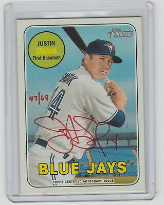 2018 Topps Heritage High Number Justin Smoak Red Ink Auto /69
