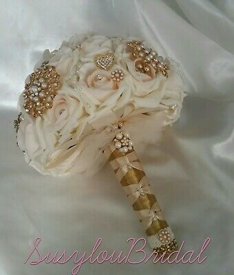 Handmade Gorgeous Bespoke Pink Blush Gold Jewelled Wedding Bridal Bouquet