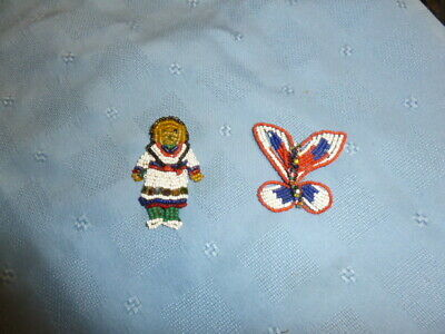 Antique Beaded Figural  Brooches/Appliques -Native American & Butterfly