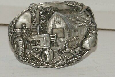 Vintage Farm Tractor Belt Buckle By Bergamot Brass Works 1981 MADE IN USA- D-49
