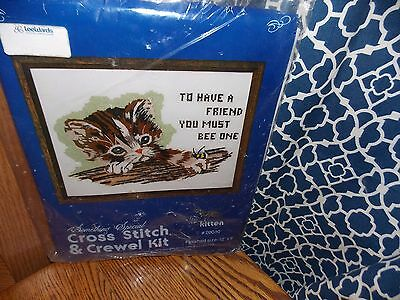 Kitten Crewel Embroidery & Cross Stitch Kit 1978 Something Special with Bee