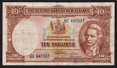 New Zealand 10 Shillings Banknote 1956-67 Fleming With Security Thread P-158d