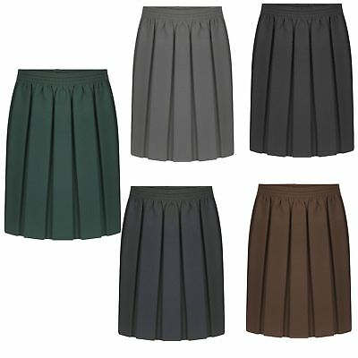 New Girls School Skirts Box Pleated Elasticated Waist kids Uniform Age 2-16 year