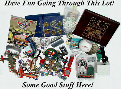Grab Bag Lot – Junk Box Stuff – Sports, Coins, Stamps & Collectables