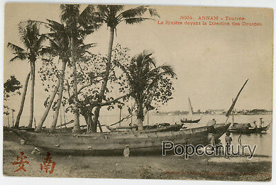 China French Indochina Postcard 1910s Vietnam Annam River Boat Shore Asia