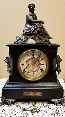Antique Gilbert Clock Co Winsted Conn USA Pre 1894 Iron Mantle Marble Statue