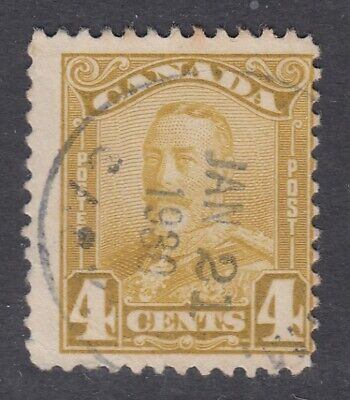 "Canada CDS Cancel Scott #152  4 cent bistre ""Scroll""  F"