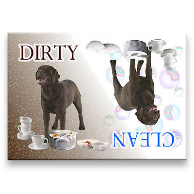 CHOCOLATE LABRADOR Clean Dirty DISHWASHER MAGNET Dog