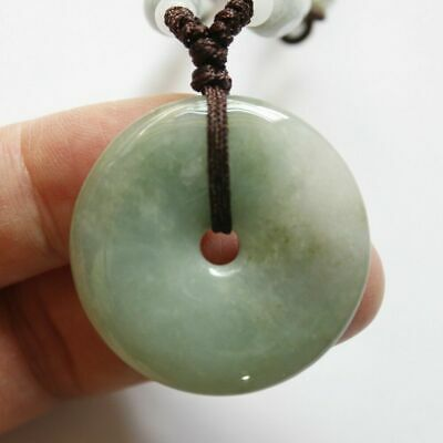 Certified Natural (A) Untreated Oily Green Jadeite Jade Circle Donut Pendant