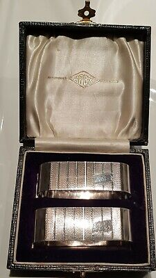 Vintage George VI Art Deco Style Sterling Silver Napkin Rings