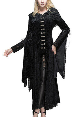 Jacket Dress Velvet Black with Hooded & Arabesque, Elegant Goth Devil Fashio