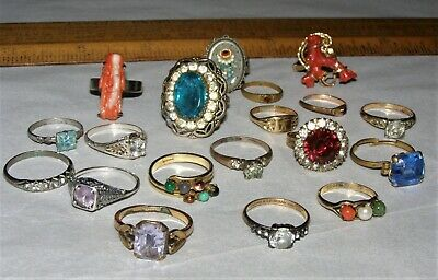 19 VTG RINGS jewelry lot Art Deco Victorian gold filled sterling wear or repair
