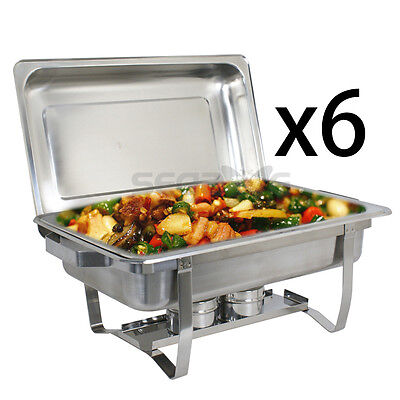 6 Pack Rectangular Catering Chafing Dish Sets 8 QT Stainless Steel Buffet Trays