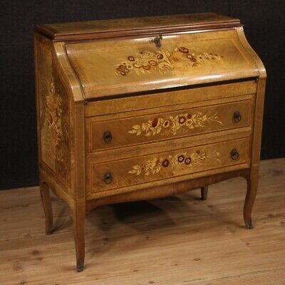 Fore Italian Furniture Secrétaire Wood Inlaid Secretary Desk Antique Style 900