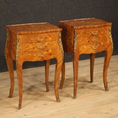 Nightstands Furniture French Wooden Inlaid Couple Coffee Tables Antique Style