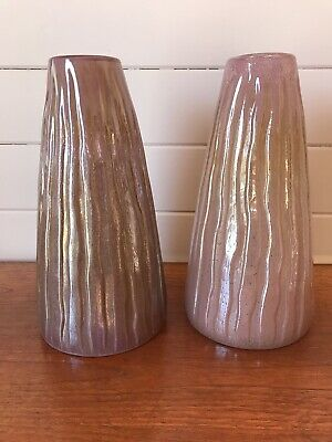 Two Contemporary Large Art Glass Pink Vases