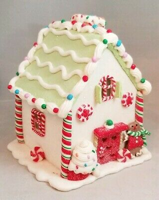 """Gingerbread House White Green Cookie LED Light Up Candy Clay-dough 6"""" Kurt Adler"""