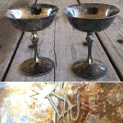 Lot Of 2 Silver Plated Spain Champagne Wine Goblets Cups Glasses KI