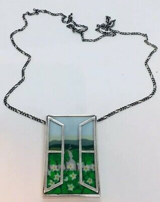 Vintage English Sterling Silver Window Enamel Landscape Necklace