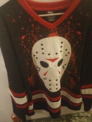 Friday The 13th Movie Jason Voorhees Bloody Hockey Jersey Shirt xl