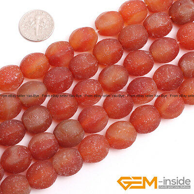 Lantern Red Frost Antique Old Agate Gemstone Beads For Jewelry Making 12mm 14mm