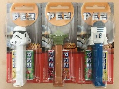 3x STAR WARS PEZ Dispensars NEW SEALED Storm Trooper Yoda R2D2