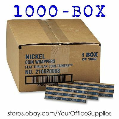 2000 Pop-open Flat Kraft COIN WRAPPERS Sorter NICKEL roll nickle paper currency