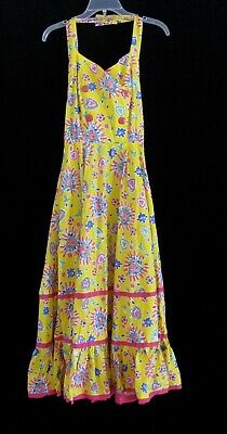 Vtg Mexican Fiesta Style Boho Hippie Gypsy Halter Colorful Ruffled Tiered Dress