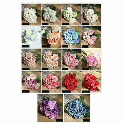 Artificial Rose Fake Flowers Plastic Bouquet For Home Garden Party Wedding n9