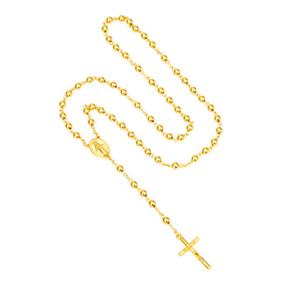 """Stainless Steel, Gold 26"""" Beaded Rosary VIRGIN MARY + JESUS CROSS Necklace"""