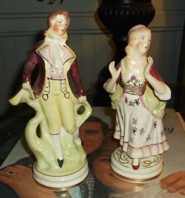Pair Of Antique 18Th Century Style Vintage Porcelain Figurines/Made In Usa