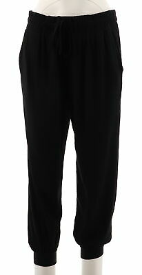 77a91b89e2bec9 AnyBody Loungewear Petite Cozy Knit Cropped Jogger Pants Black PM NEW  A286476