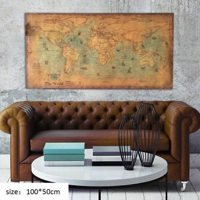 Retro Nautical Ocean Sea World Map Old Art Paper Painting Home Decor Wall Poster