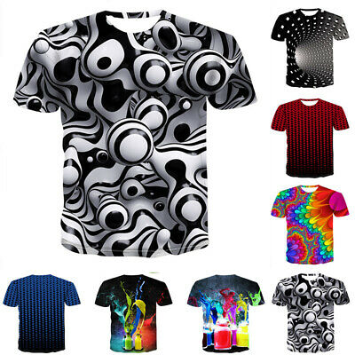 Fashion Men Womens 3D Print Summer Short Sleeve Casual T-Shirt Graphic Tee Tops