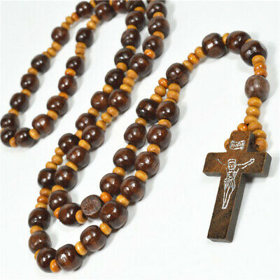 Brown Wooden Beads Religious Christian Communion Christening Baptism Rosary