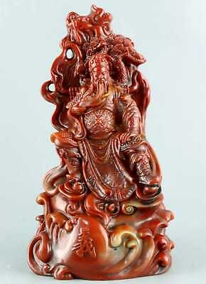 Collectable China Old Shou Shan Stone Hand Carve Guan Yu Moral Bring Luck Statue