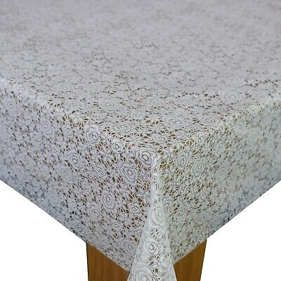 WHITE LACE PLASTIC VINYL PVC OILCLOTH WIPE CLEAN TABLECLOTH