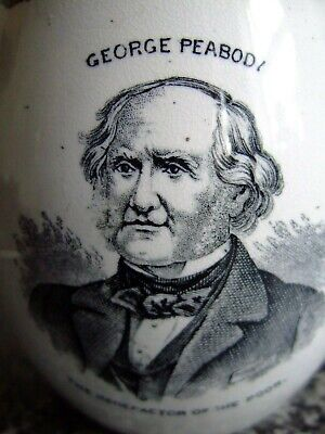 Victorian Pottery Commemorative Mug ~ George Peabody Benefactor Of The Poor C186