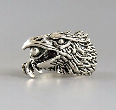 Collect China Old Tibet Silver Hand Carve Eagle Unique Fashionable Decorate Ring