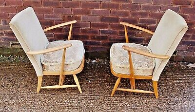 Pair Of Unusual Rare Quality Ercol Tub Arm Chairs Blonde Ideal Up Cycle Project