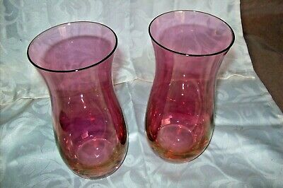 A Pair Of Rose Pink Glass Vases