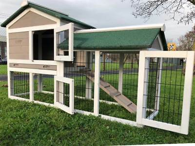 5Ft Outdoor Rabbit Hutch Run 2 Two Tier Wooden Guinea Pig Bunny Pet Grey