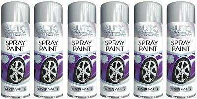 6 x SILVER ALLOY WHEEL SPRAY CAN RESTORER CAR BIKE AUTO PAINT SILVER SATIN 250ML