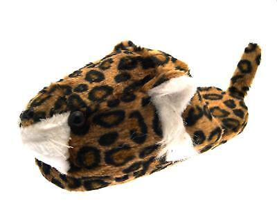 Womens 3D Character Slippers Novelty Plush Leopard Booties Xmas Gift Ladies Size