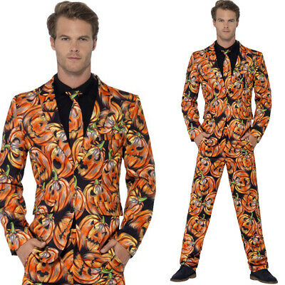 Pumpkin Stand Out Suit Mens Halloween Fancy Dress Costume