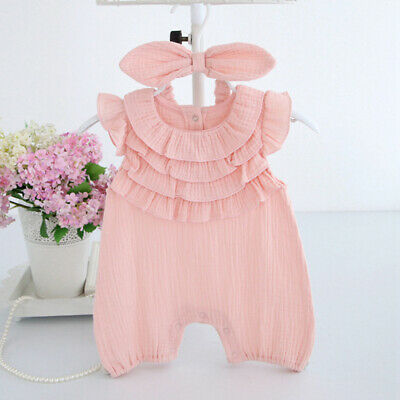Newborn Romper Lace Jumpsuit Ruffle Sleeveless Outfit Summer Baby Clothes 8C