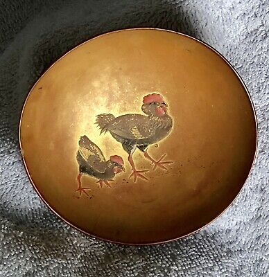 Antique Japanese Lacquer Bowl Pair Of Roosters
