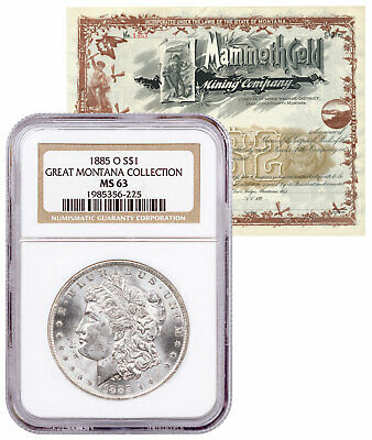 1885 O Morgan Silver Dollar Great Montana NGC MS63 Mammoth Certificate SKU58091