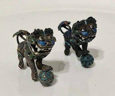 Antique Chinese Enamel & Brass Filigree Foo Dogs Moving Heads