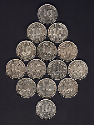 Malaya.  1941 10 Cents x 14 Coins.. Most with Lustre..  gVF-gEF/aU